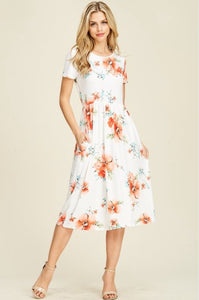 Floral Midi Dress Style 8223 in Ivory - The Skirt Boutique