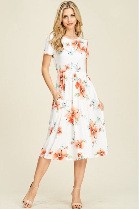 Gypsophila Floral Midi Dress Style T8223 in Ivory or Navy - The Skirt Boutique