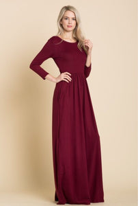 Solid Maxi Dress Style T7800 in Wine, Black or Mauve - The Skirt Boutique
