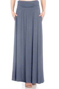 Shirred Waist Maxi Skirt Style 4005 in Dusty Rose or Blue Denim - The Skirt Boutique