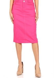Fuchsia Denim Skirt Style 77546 - The Skirt Boutique