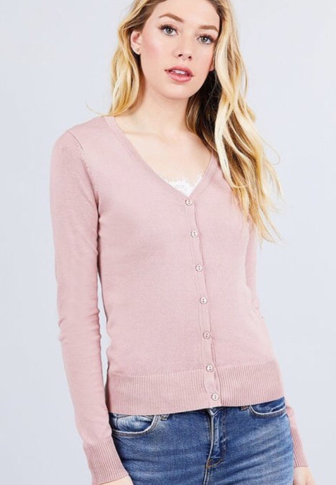Basic Cardigan Style 11068 in Blush - The Skirt Boutique