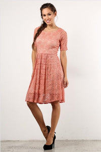 Peach Lace Dress 9092L-16 - The Skirt Boutique