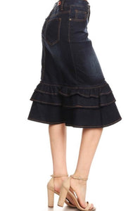 Ruffle Denim Skirt Style 76395 - The Skirt Boutique