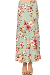 Floral Maxi Skirt Style 832 in Dusty Sage - The Skirt Boutique