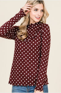Polka Dot Sweater Style 8658 in Burgundy - The Skirt Boutique