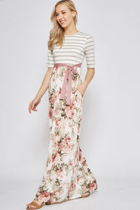 Floral Striped Maxi Dress Style 3618