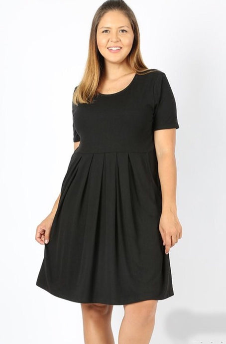 Pleated Midi Dress Style 1596 in Black - The Skirt Boutique
