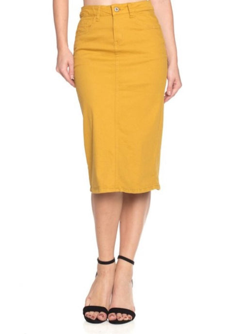 Mustard Denim Skirt Style 76418 - The Skirt Boutique