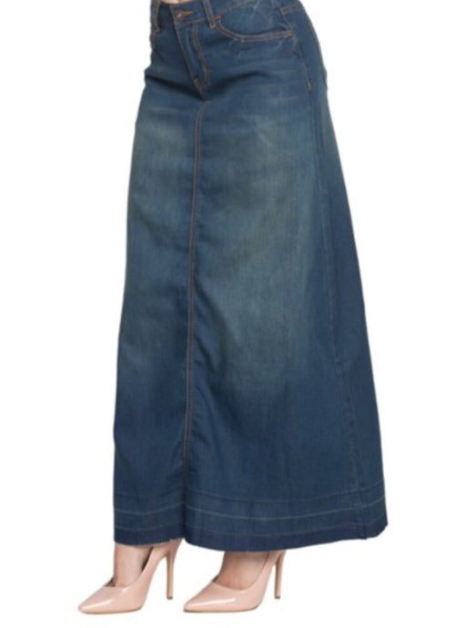 Long Denim Skirt Style 87229 in Vintage Wash - The Skirt Boutique