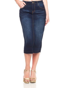 Calf Length Pencil Skirt Style 76415 in Dark Blue Denim - The Skirt Boutique
