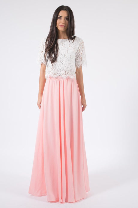 Long Flowy Skirt in Peach Blush 24469 - The Skirt Boutique