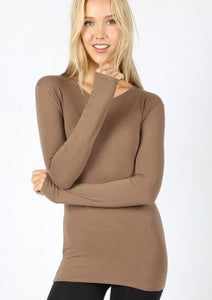 Cotton long sleeve round neck top 3320 - The Skirt Boutique