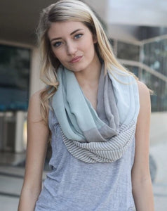 Color Block & Stripe Infinity Scarf Seafoam 3428