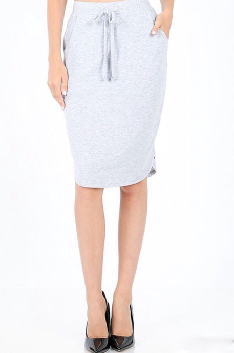 Sports Pencil Skirt Style 1870 in Heather Grey - The Skirt Boutique