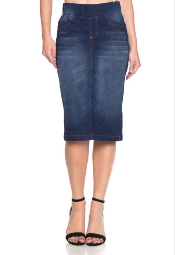 Pencil Denim Skirt Style 77104 - The Skirt Boutique