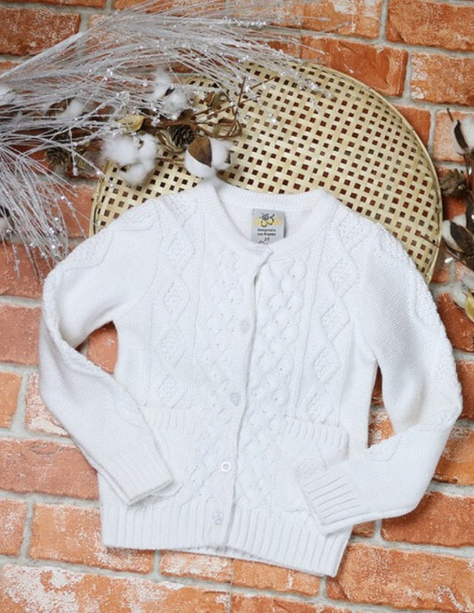 Cardigan Sweater Style 919 in Pure White