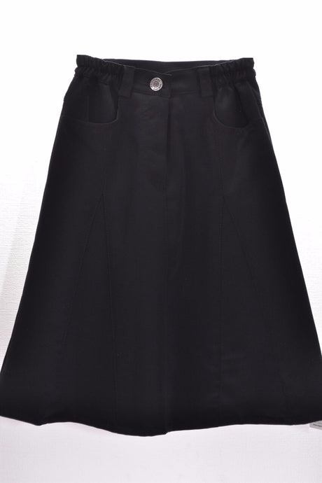 Flared Girls Skirt Black Style 011-CZ-C - The Skirt Boutique