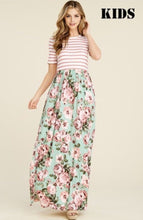 Girls Floral-Striped Maxi Dress Style 8161 in Mint or Blush - The Skirt Boutique