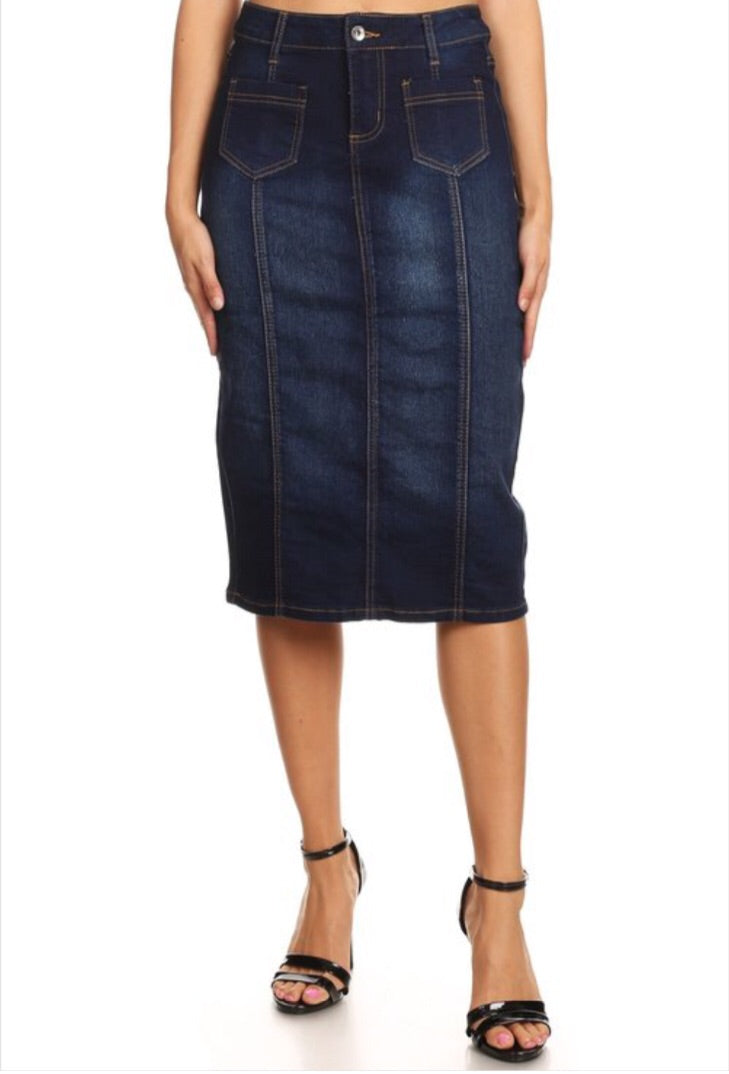 Panel Denim Skirt with front pockets Style 77225 - The Skirt Boutique