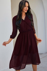 Long Sleeve Dress Style 4146 in Wine