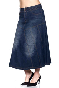 Long Flared Denim Skirt Style 86115 - The Skirt Boutique