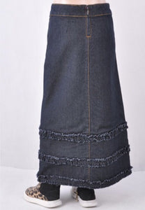 Girls Long Denim Skirt Style 87254 - The Skirt Boutique