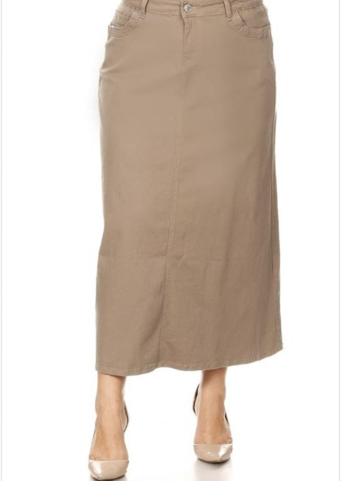 Long Tan Denim Skirt Style 86278