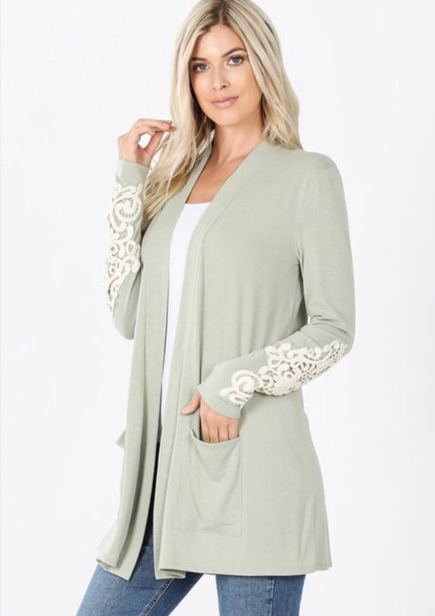 Light Sage Slouchy Pocket Cardigan Style 1446