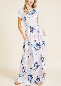 Floral Maxi Dress Style 7828 in Lilac