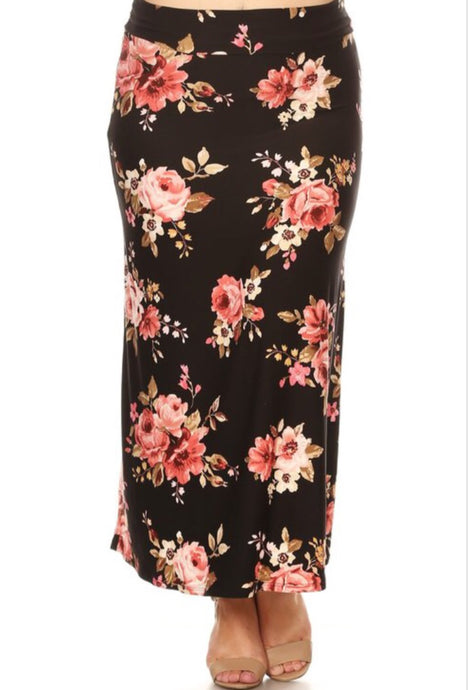 Plus Black Floral Maxi Skirt Style 832 - The Skirt Boutique