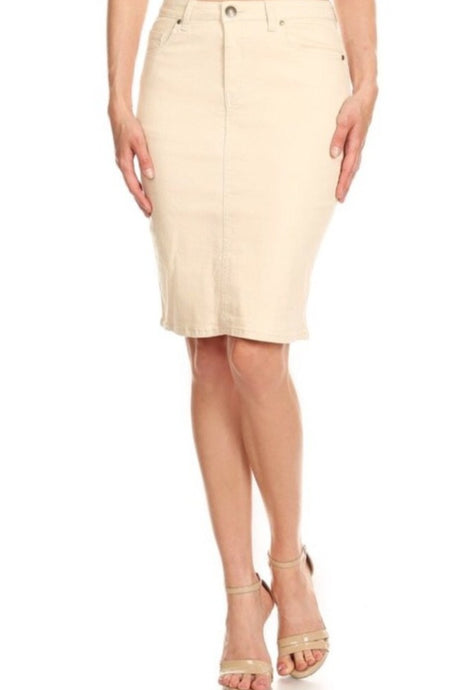 Beige Pencil Denim Skirt Style SK23 - The Skirt Boutique