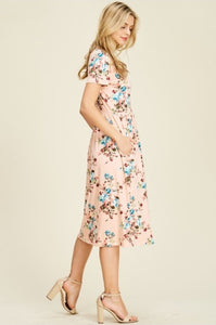 Floral A-line Dress Style T8223 in Blush - The Skirt Boutique