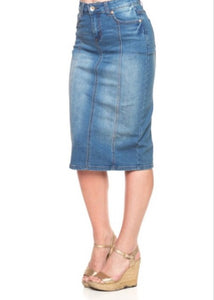 Panel Denim Pencil Skirt Style 77105 in Light Blue - The Skirt Boutique