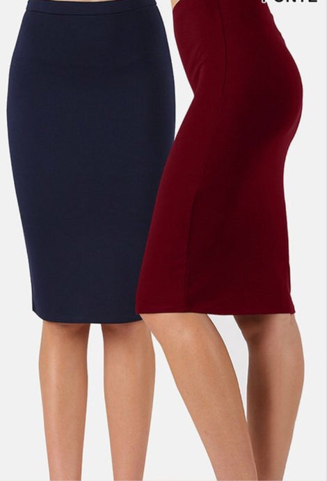Basic Ponte Pencil Skirt Style 2454 - The Skirt Boutique