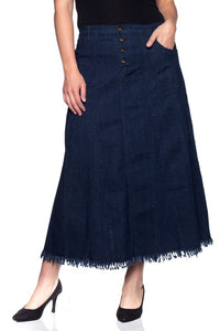 Long Denim Skirt Flared Style 86160 - The Skirt Boutique