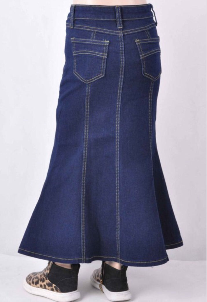 Girls Long Denim Skirt Style 87224 - The Skirt Boutique
