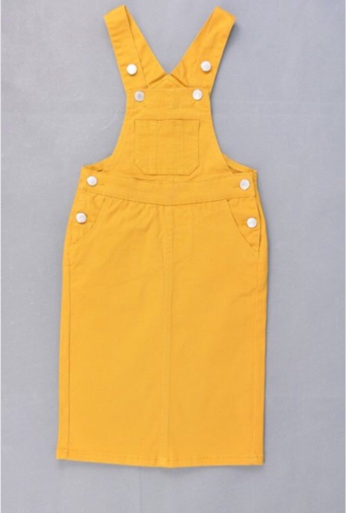 Girls Denim Overall Dress in Mustard Style 97550 - The Skirt Boutique