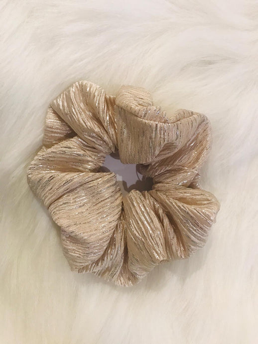 Holiday Scrunchie Gold Pleats