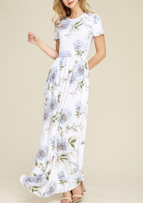 Floral Maxi Dress Style 7828 in Blush or Ivory