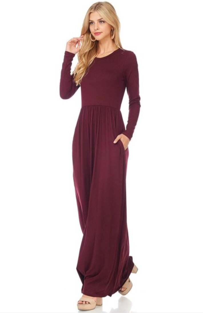 New Wine Maxi Dress Style T8024 - The Skirt Boutique