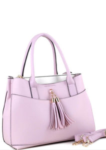 Fashion Handbag with Tassel Accent Style 3375 - The Skirt Boutique