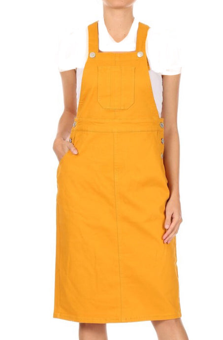 Mustard Denim Overall Dress Style 97550 - The Skirt Boutique