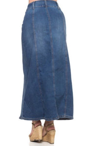 Long Denim Skirt Style 87108 in Indigo Blue - The Skirt Boutique
