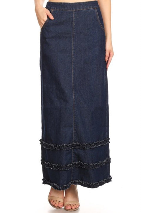Ladies Long Denim Ruffle Skirt Style 87254 - The Skirt Boutique