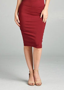 Basic Ponte Pencil Skirt Style 2180 In Burgundy - The Skirt Boutique
