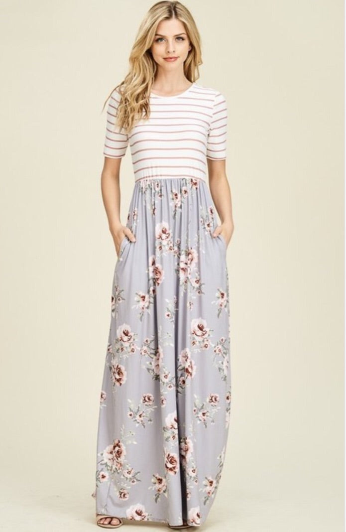 Striped and  Floral Maxi Dress Style T8161