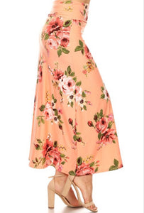 Floral Maxi Skirt Style 832 in Salmon - The Skirt Boutique