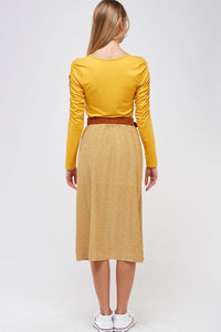 Faithful Ruched Sleeved Top Style 2021 in Mustard