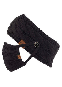 Knit Headband with Buttons in Black, Dark Grey, Maroon, Navy or Rose